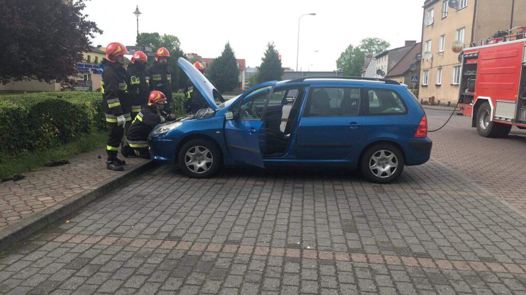 Pożar samochodu w Drawsku