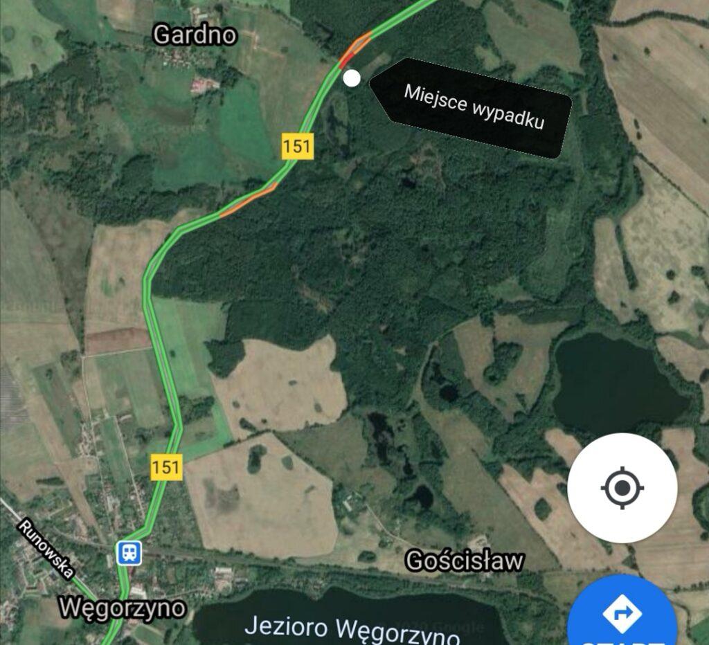 Poważny wypadek na odcinku drogi Węgorzyno - Łobez