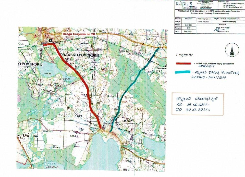 Zamknięcie drogi na odcinku Drawsko Pomorskie - Gudowo